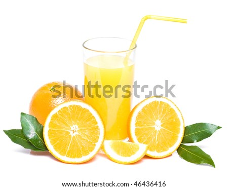 orange with leaves and glass of juice