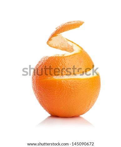 orange with peeled spiral skin isolated on white background - stock photo