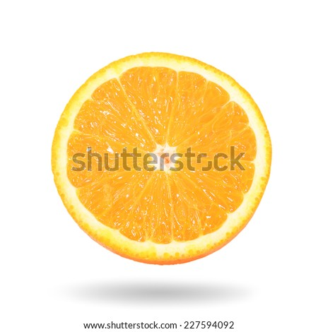 Orange with shadow on white background