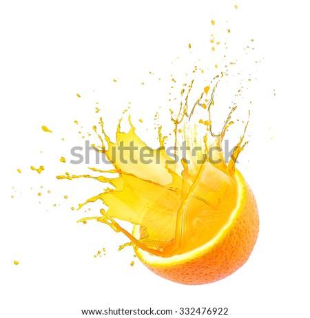 Orange with splashes isolated on white - stock photo