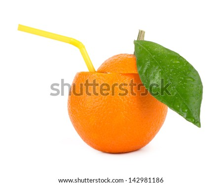 orange with tube isolated on white