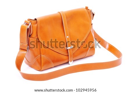 Orange women bag isolated on white background