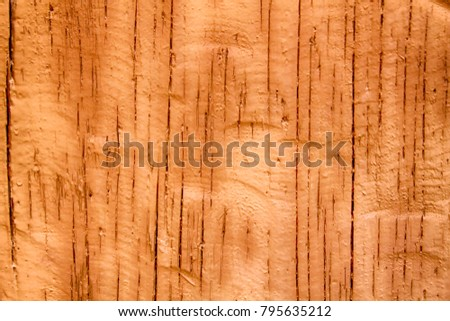 Orange Wooden panel background, cracked texture, old surface