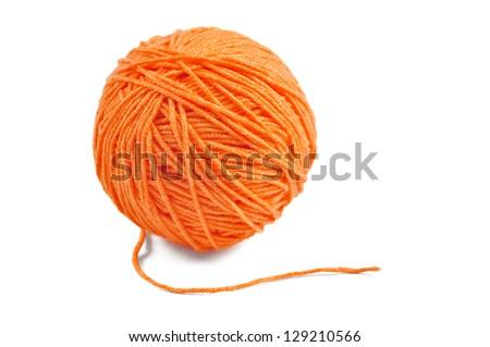 Orange wool yarn ball isolated on white background - stock photo