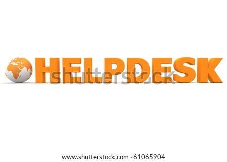 orange word HELPDESK with 3D globe replacing letter O - stock photo