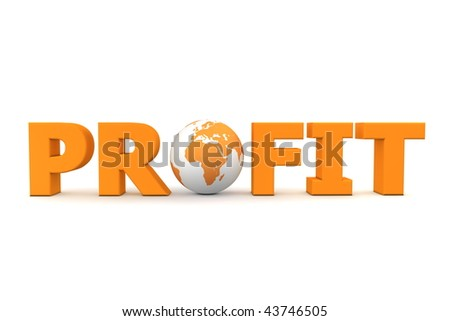 orange word Profit with 3D globe replacing letter O - stock photo