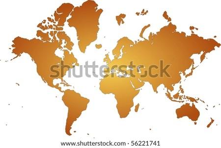 orange world map with white background - stock photo