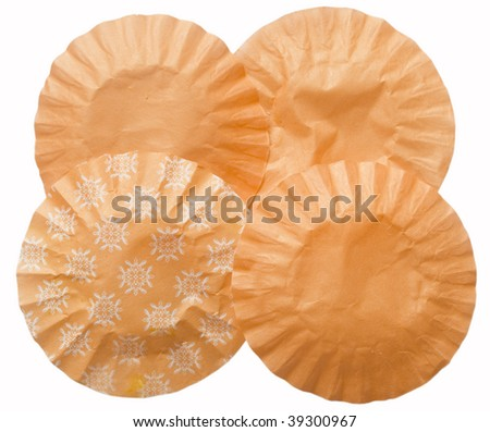 orange wrinkled papers in the shape of circles - stock photo