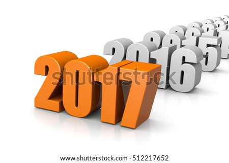Orange 2017 Year Number Text Time Passes Concept on White Background 3D Illustration