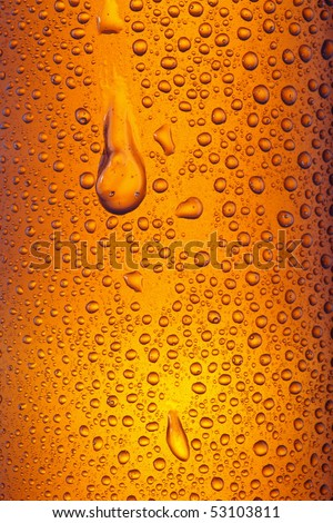 Orange yellow beer droplets, abstract background - stock photo