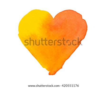 Orange yellow heart shape colorful watercolor