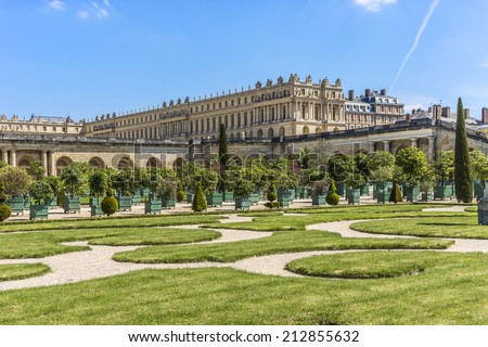 Orangerie Parterre built by Jules Hardouin-Mansart (1684 � 1686) in Versailles palace. Paris, France. It features 1,055 trees, including palm trees, oleanders, pomegranate, eugenias and orange trees.