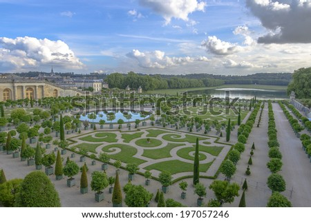 Orangery was designed by Louis Le Vau, it is located south of the Palace Versailles, Paris, France. Versailles was a royal chateau. - stock photo