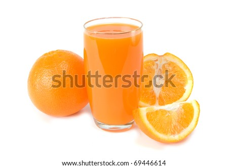 oranges and juice on white background
