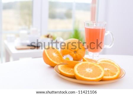 Oranges and orange juice / I like fruits. - stock photo