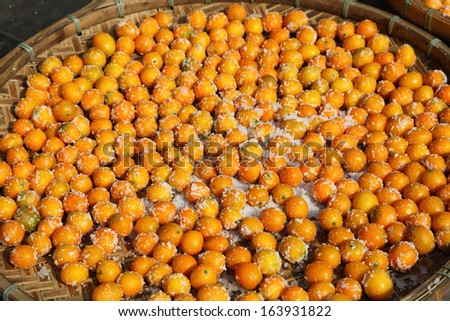 Oranges for sale in the street of Hong Kong