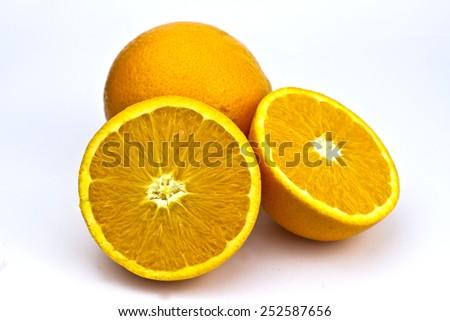 Oranges isolated on white - stock photo