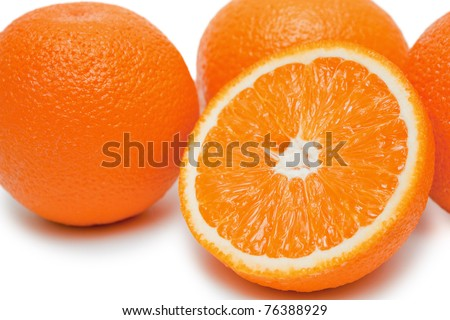 Oranges isolated on white - stock photo