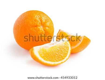Oranges. Ripe fresh oranges isolated on white background - stock photo