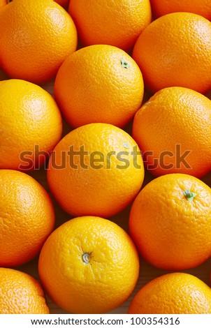 Oranges, top view - stock photo