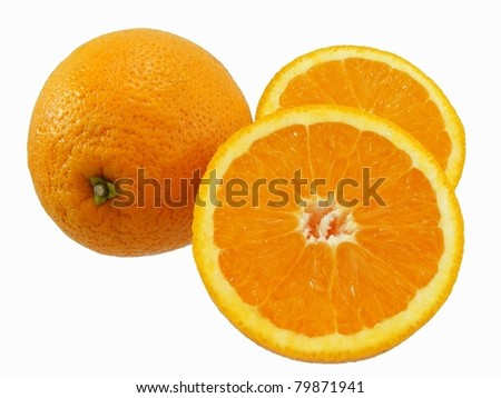 Oranges Whole and Halved - stock photo