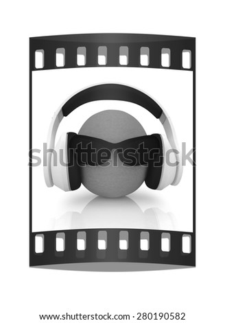 "oranges with sun glass and headphones front ""face"" on a white background. The film strip - stock photo"