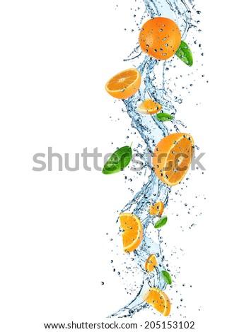 Oranges with water splash isolated on white - stock photo