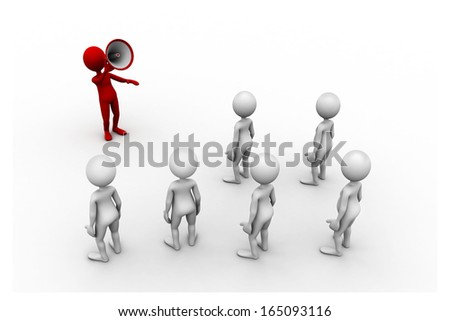 orator speaks in megaphone. Isolated in white background, 3d people