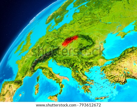 Orbit view of Slovakia highlighted in red on planet Earth. 3D illustration. Elements of this image furnished by NASA.