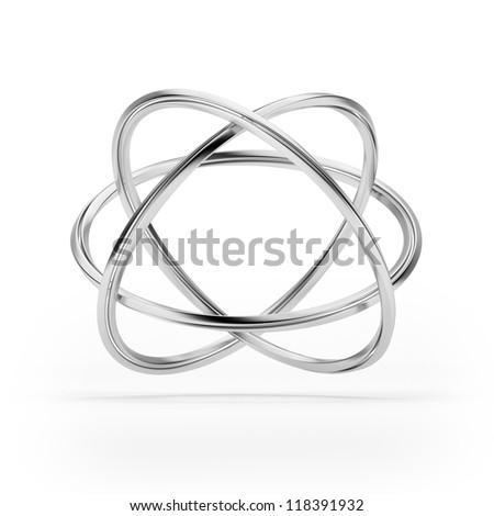Orbital model of atom isolated - stock photo