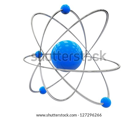 Orbital model of atom on a white background