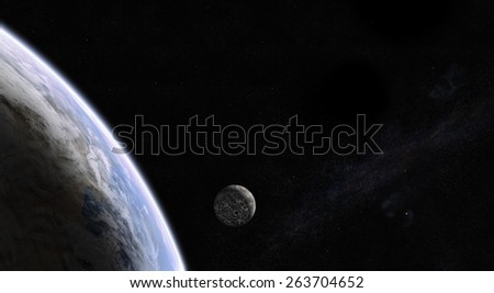 Orbital view of Earth and colonized Moon with city lights on the dark side and with the Milky Way galaxy in the back. Elements of this image furnished by NASA - stock photo