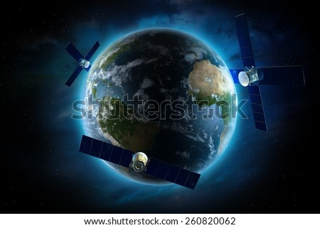 Orbiting Satellites Around the Earth. Global Satellite Communication Concept Illustration. Communication Technology Conceptual Illustration. - stock photo