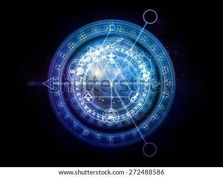 Orbits of Destiny series. Abstract design made of sacred symbols, signs, geometry and designs on the subject of astrology, alchemy, magic, witchcraft and fortune telling - stock photo
