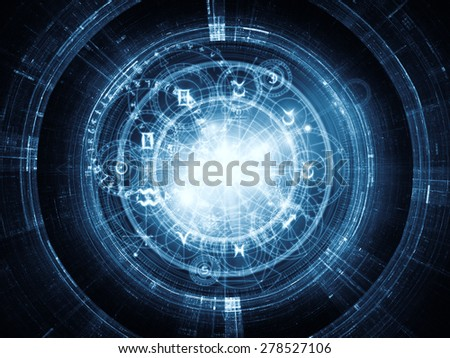 Orbits of Destiny series. Backdrop of sacred symbols, signs, geometry and designs on the subject of astrology, alchemy, magic, witchcraft and fortune telling - stock photo