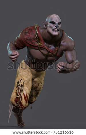 orc attack 3d illustration