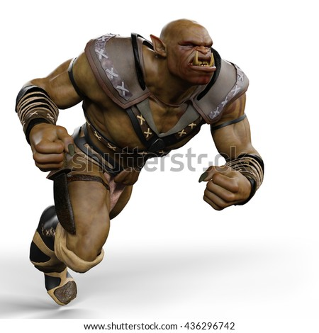 orc battle soldier 3d illustration
