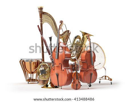 Orchestra musical instruments isolated on white 3D rendering - stock photo