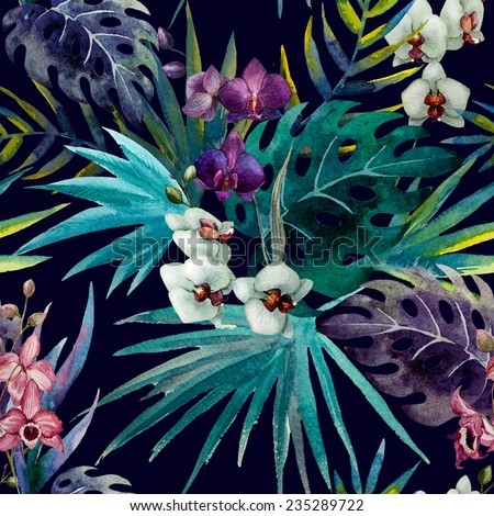 orchid, background, watercolor - stock photo