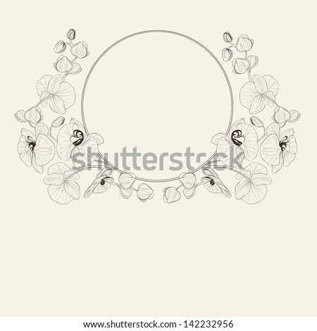 Orchid curly frame.  illustration. - stock photo