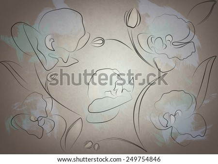 Orchid  drawing radial background - stock photo
