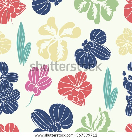 Orchid. Multicolored flowers. Background, texture, seamless - stock photo