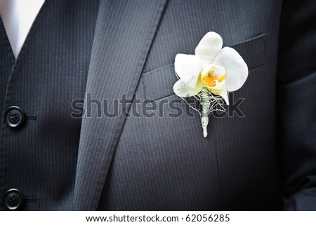 orchid on the suit - stock photo