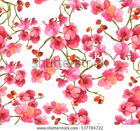 Orchid Seamless Pattern - stock photo