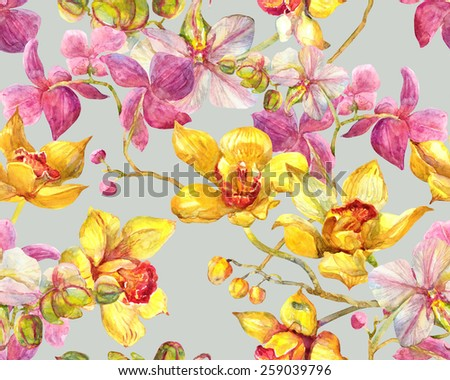 Orchid. Tropical Flowers Seamless Pattern - stock photo