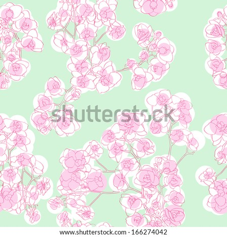 Orchids seamless pattern, hand drawn illustration of a retro revival neo rococo style floral texture - stock photo