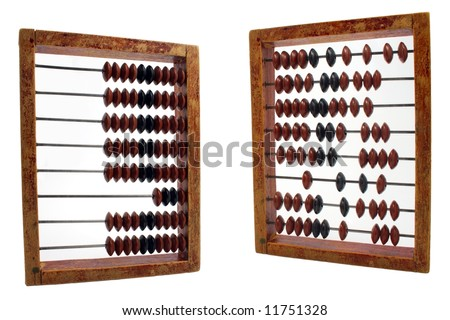 order and chaos demonstration on abacus isolated on white - stock photo