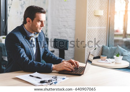Orderly Male Working Laptop Stock Photo Royalty Free 640907065