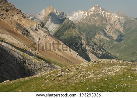 Ordesa y Monte Perdido national park seen from French Pyrenees - stock photo