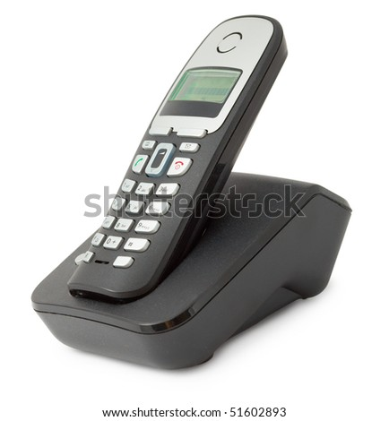 Ordinary office desktop telephone isolated on a white background - stock photo